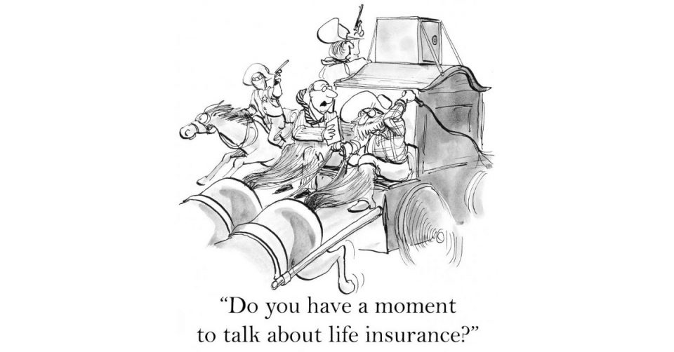 comic image depicting man trying to sell life insurance to someone in a shootout